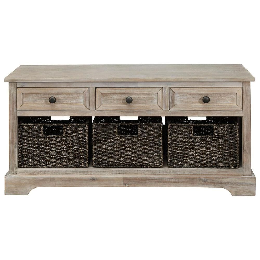 Signature Design by Ashley Oslember 3 Drawers Storage Bench in Light Brown, , large
