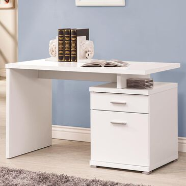 "Pacific Landing Contemporary 47"" Executive Desk with Cabinet in White, , large"