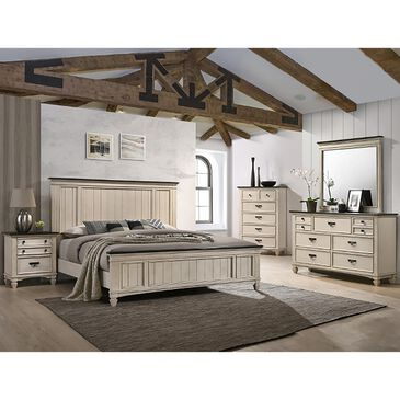 Claremont Sawyer Queen Bed in Antique White and Brown, , large