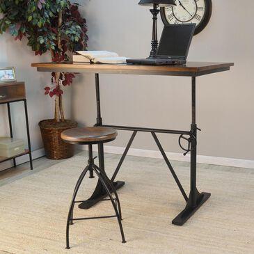 Carolina Cottage Sit or Stand Adjustable Desk in Elm and Black, , large