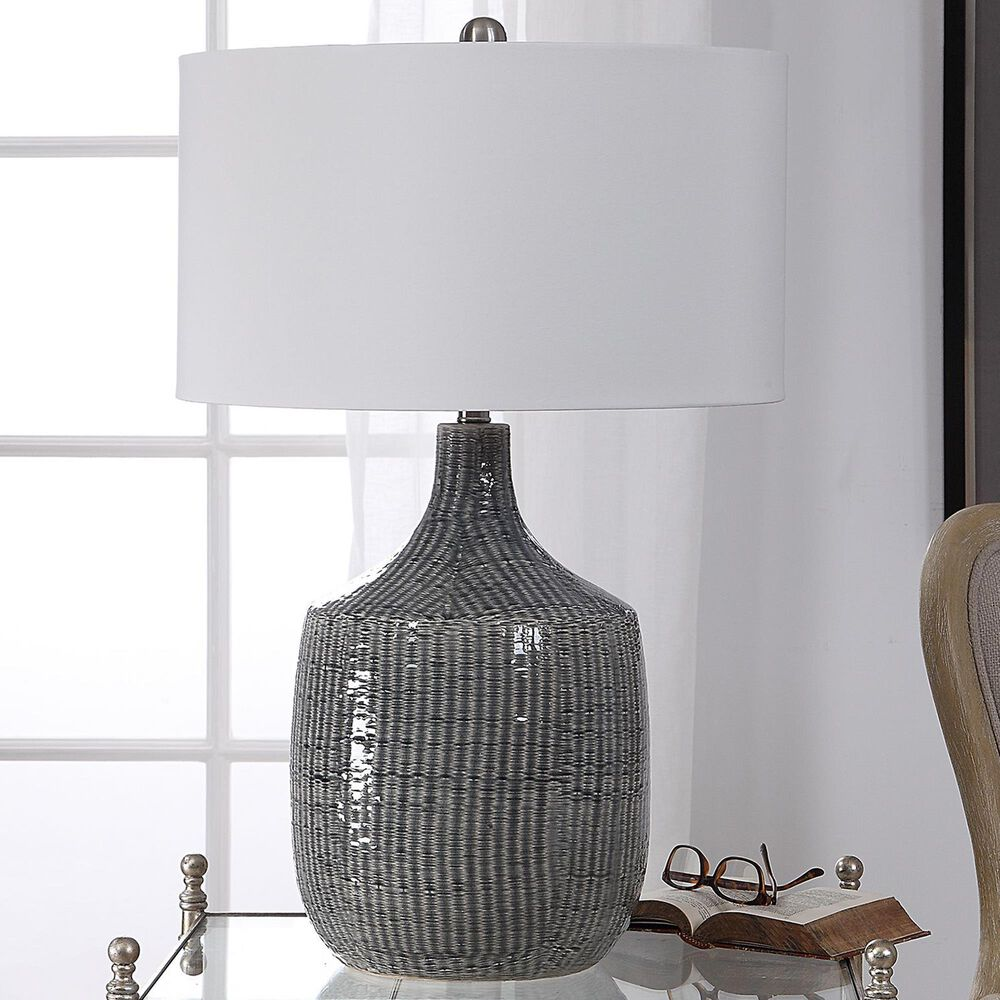 Uttermost Felipe Table Lamp in Blue Gray and Brushed Nickel, , large