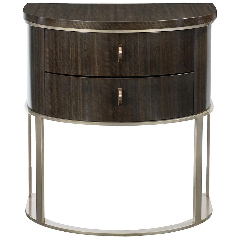 Caracole Streamline 2 Drawer Demilune Nightstand in Aged Bourbon, , large
