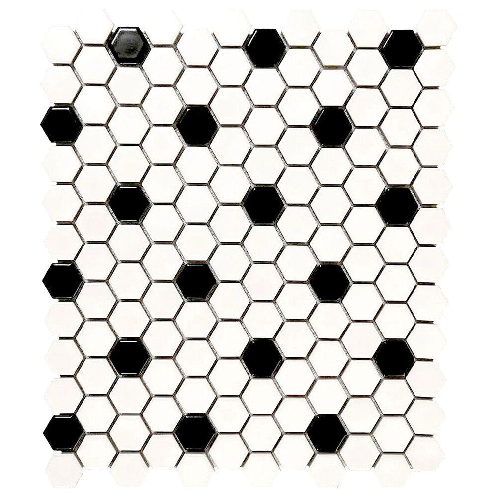 "Emser Influence White and Black 1"" x 1"" Hexagon on 10"" x 12"" Porcelain Mosaic Sheet, , large"