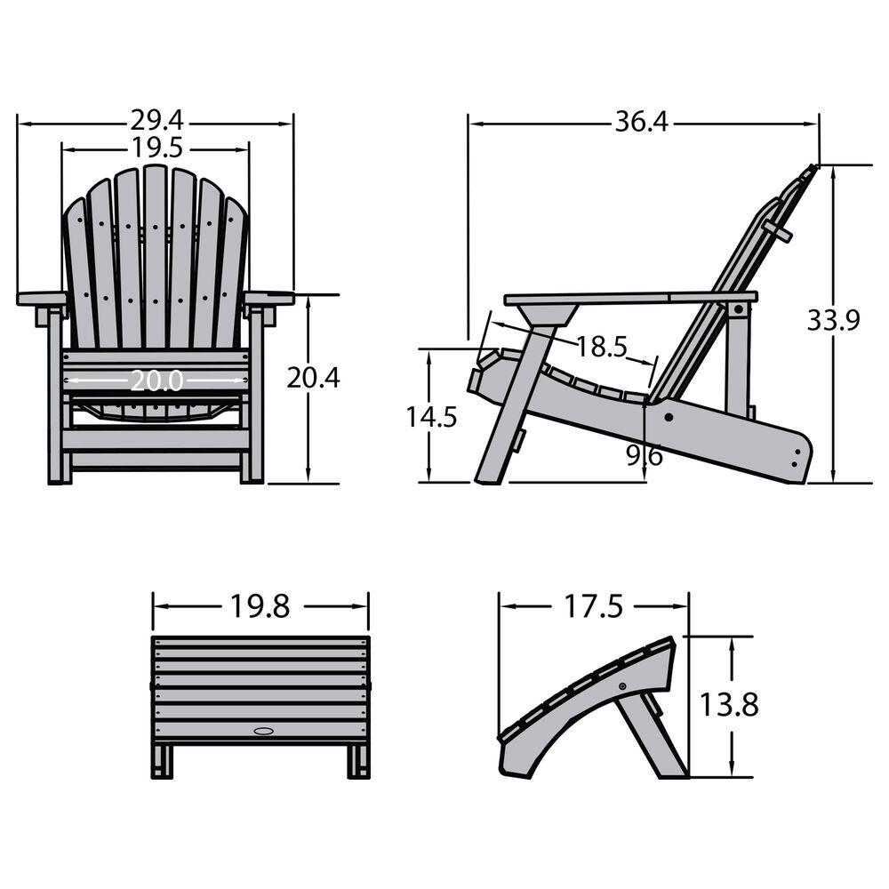 Highwood USA Hamilton Folding & Reclining Adirondack Chair with Ottoman in Weathered Acorn, , large