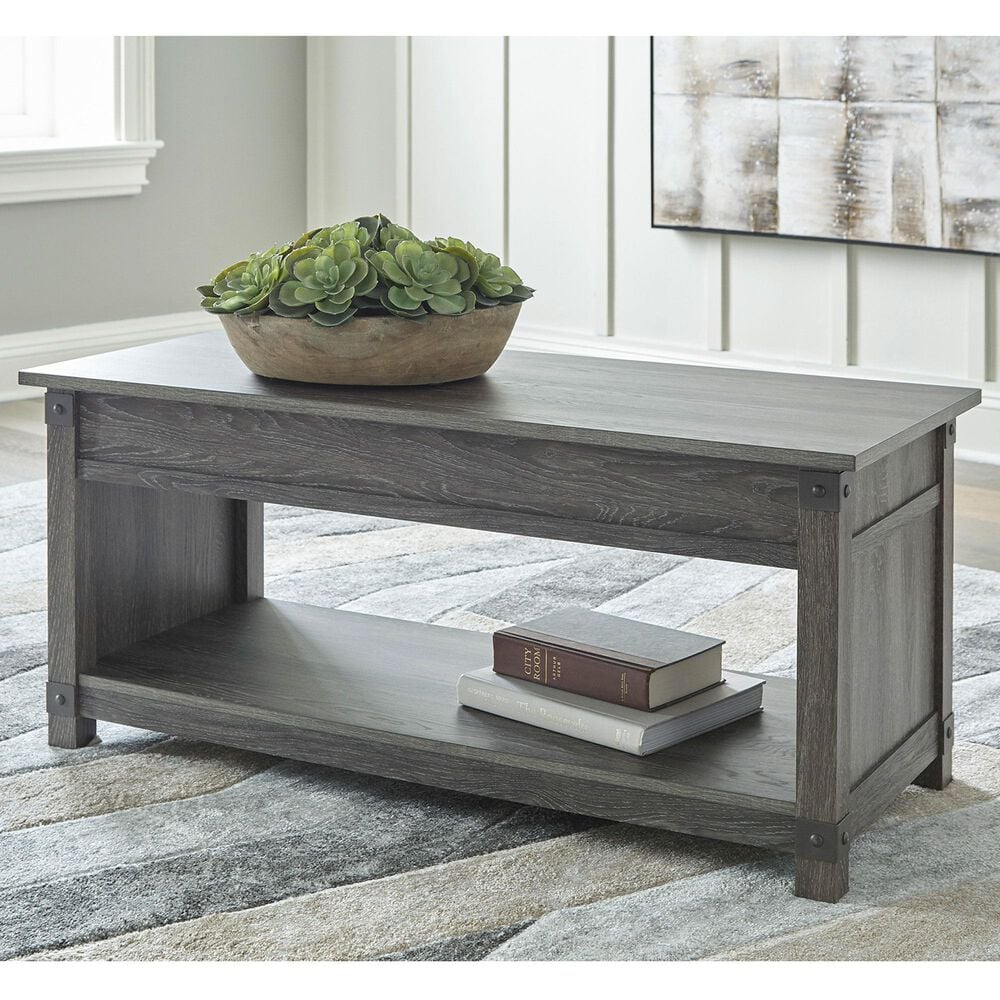 Signature Design by Ashley Freedan Lift-Top Coffee Table in Grayish Brown, , large