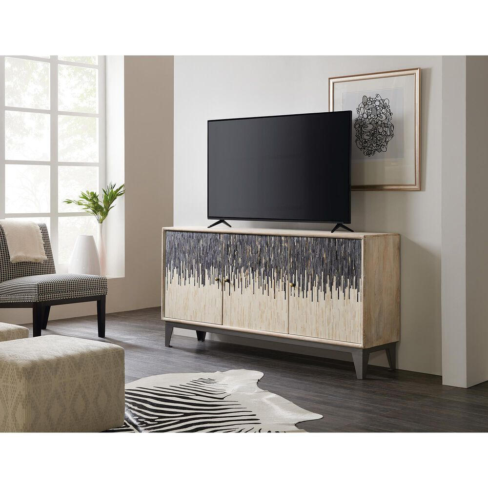 Hooker Furniture 3-Door TV Console in White and Grey, , large