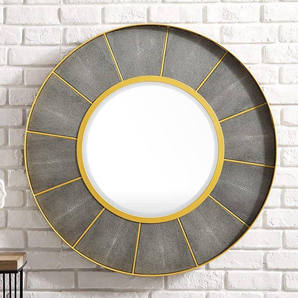 "James Martin Compass 35.5"" Mirror in Crimson Gold and Shagreen Platinum, , large"