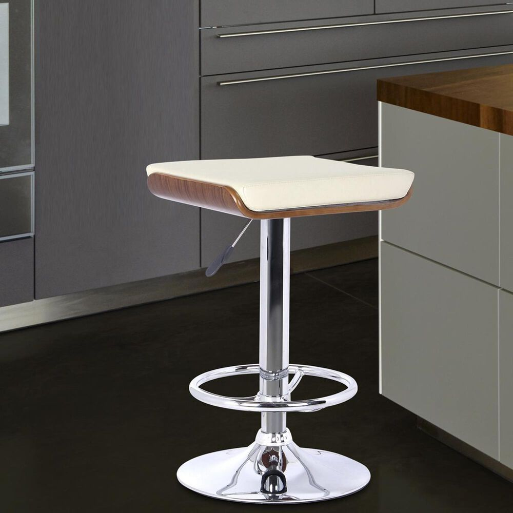 Blue River Java Bar Stool in Cream, Walnut, and Chrome, , large
