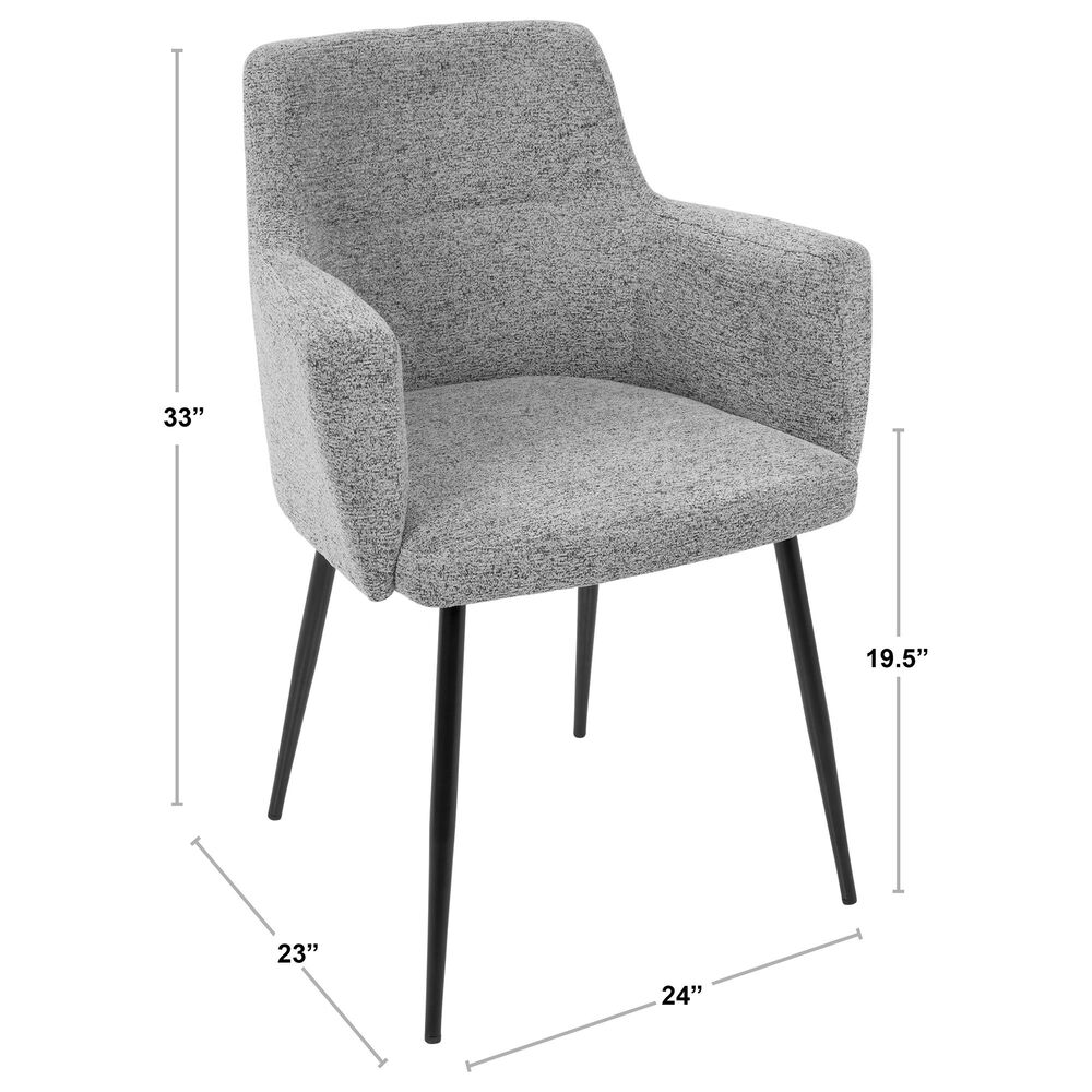 Lumisource Andrew Dining Chair in Grey/Chrome (Set of 2), , large