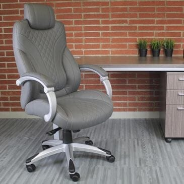 Regal Co. Executive Chair with Gray Cushion in Silver, , large