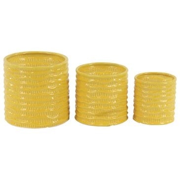Maple and Jade Assorted Planters in Yellow (Set of 3), , large
