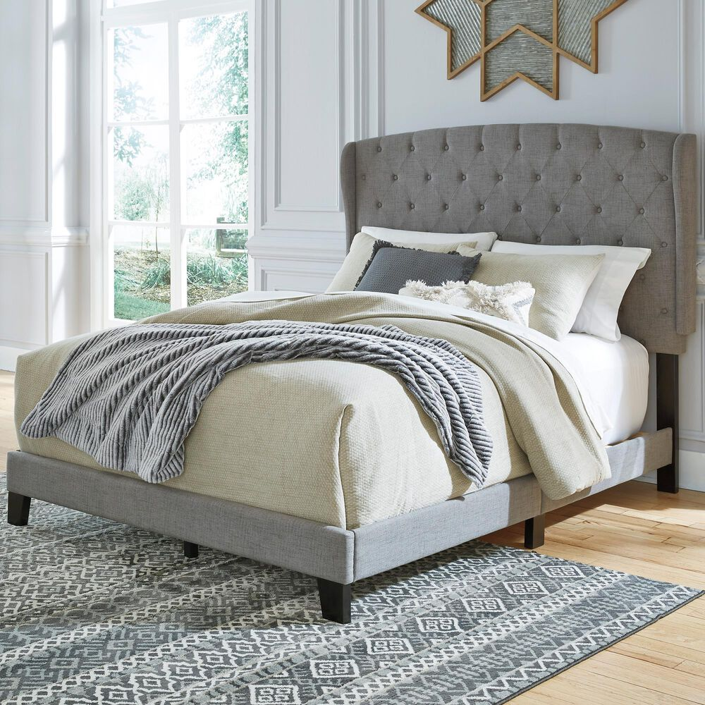 Signature Design by Ashley Vintasso King Upholstered Bed in Gray, , large
