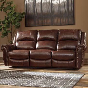 Signature Design by Ashley Bingen Leather Manual Reclining Sofa in Harness, , large