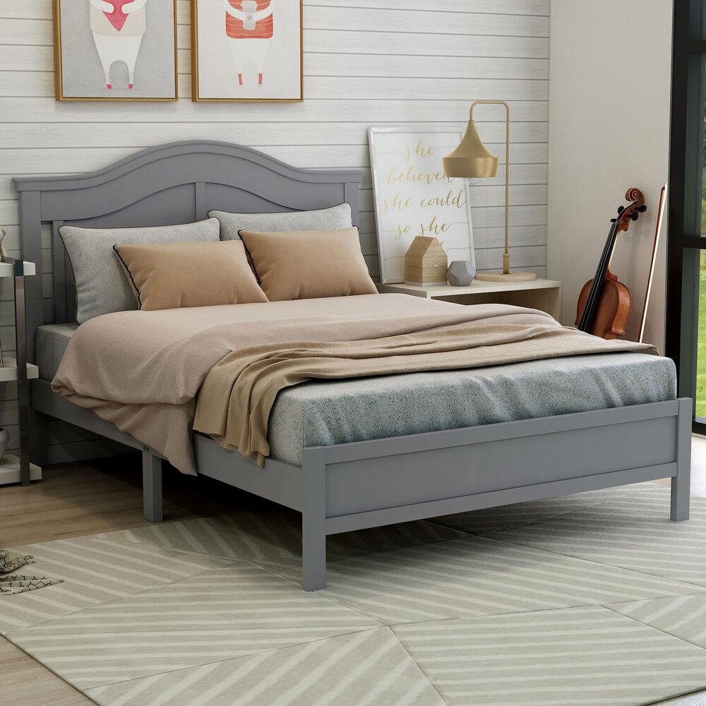 Furniture of America Wilcox Full Platform Bed in Gray, , large