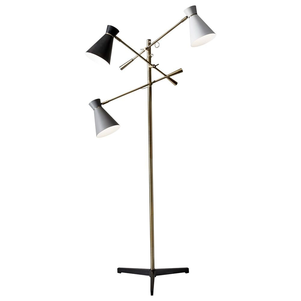 Adesso Lyle 3-Arm Floor Lamp in Antique Brass, , large
