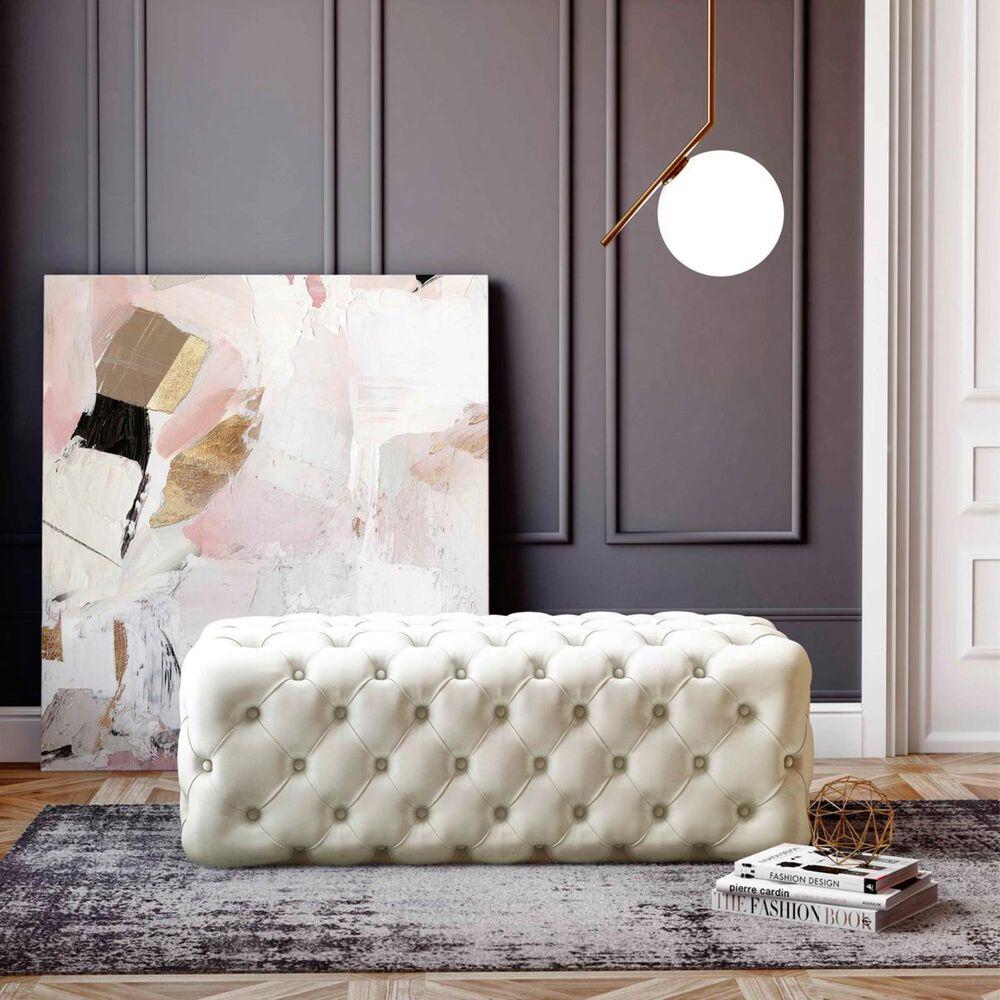 Tov Furniture Kaylee Velvet Ottoman in Cream, , large