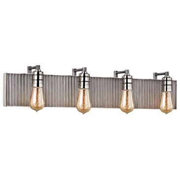 Stein World Corrugated Steel 4-Light Vanity In Weathered Zinc And Polished Nickel, , large