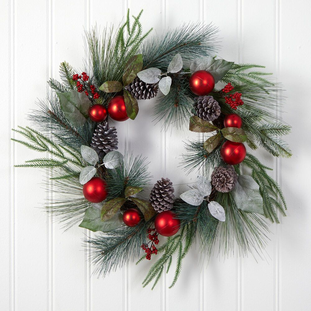 Nearly Natural Inc 24in. Assorted Pine, Pinecone and Berry Artificial Christmas Wreath with Red Ornaments, , large