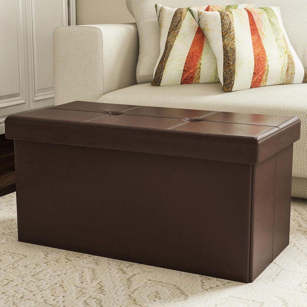 Timberlake Lavish Home Large Folding Storage Ottoman in Brown, , large