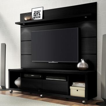 """Dayton Cabrini 1.8 71"""" TV Stand & Wall Panel Set in Black Gloss and Black Matte, , large"""