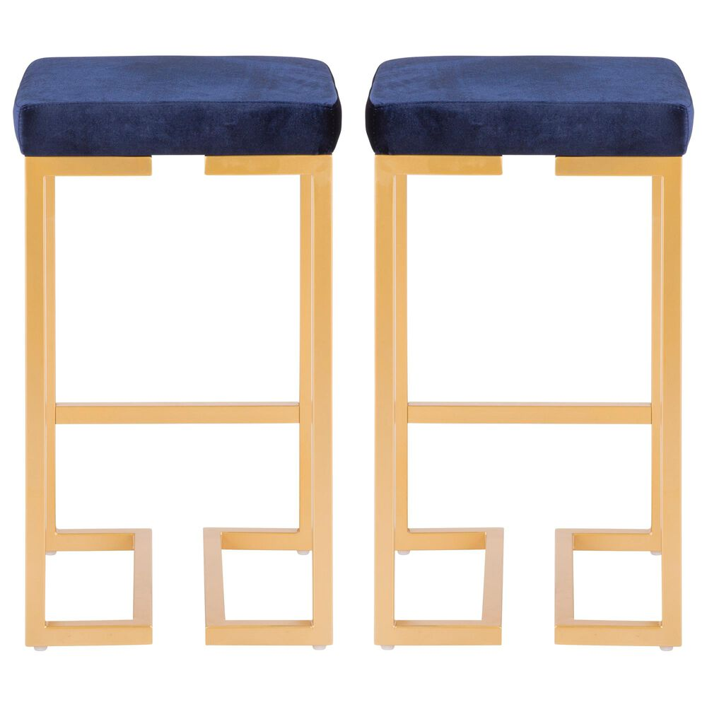 """Lumisource Midas 26"""" Counter Stool in Blue/Gold (Set of 2), , large"""