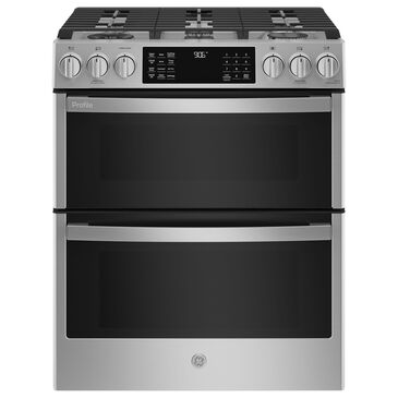 """GE Profile 30"""" Slide-In Front-Control Double Oven Range in Fingerprint Resistant Stainless Steel, , large"""