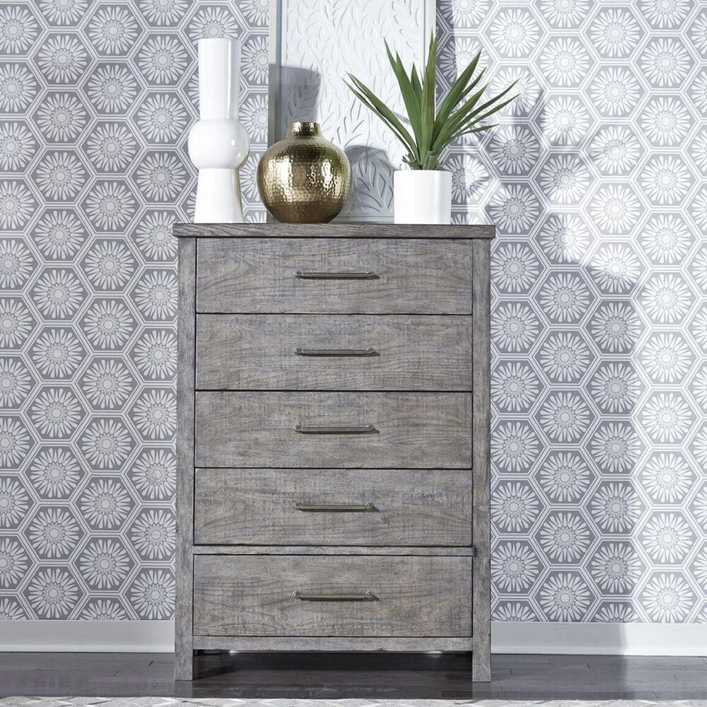 Belle Furnishings Modern Farmhouse 5 Drawer Chest in Dusty Charcoal, , large