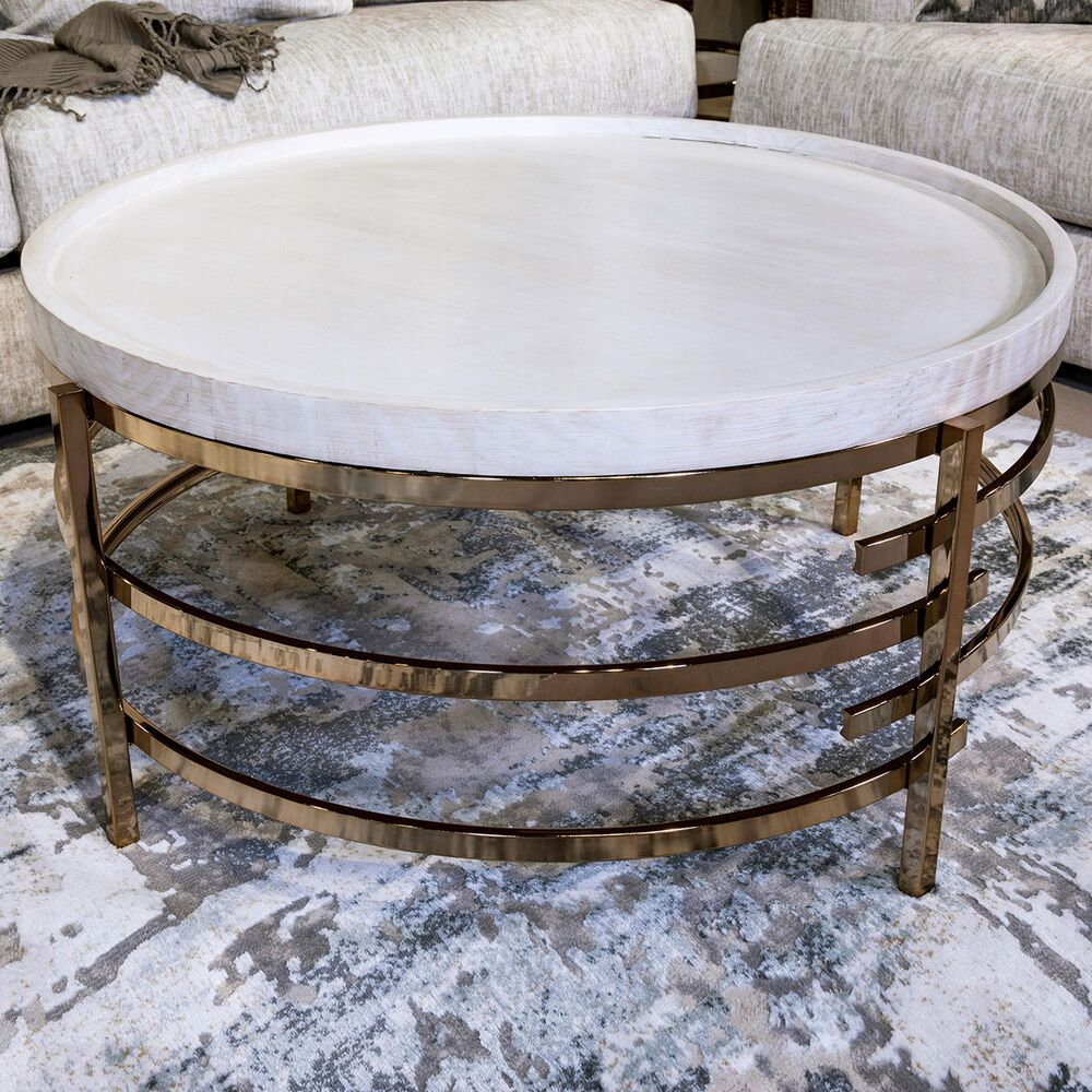 Signature Design by Ashley Montiflyn Coffee Table in White and Gold Tone, , large