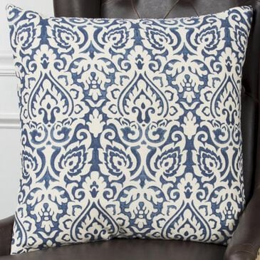 """Rizzy Home 22"""" x 22"""" Damask Down Pillow in Blue and White, , large"""