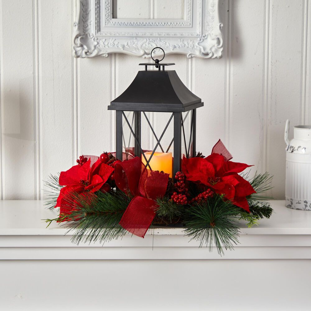 Nearly Natural Inc 15in. Holiday Poinsettia, Pinecone and Greenery with Lantern and Included LED Candle Artificial Table Christmas Arrangement, , large