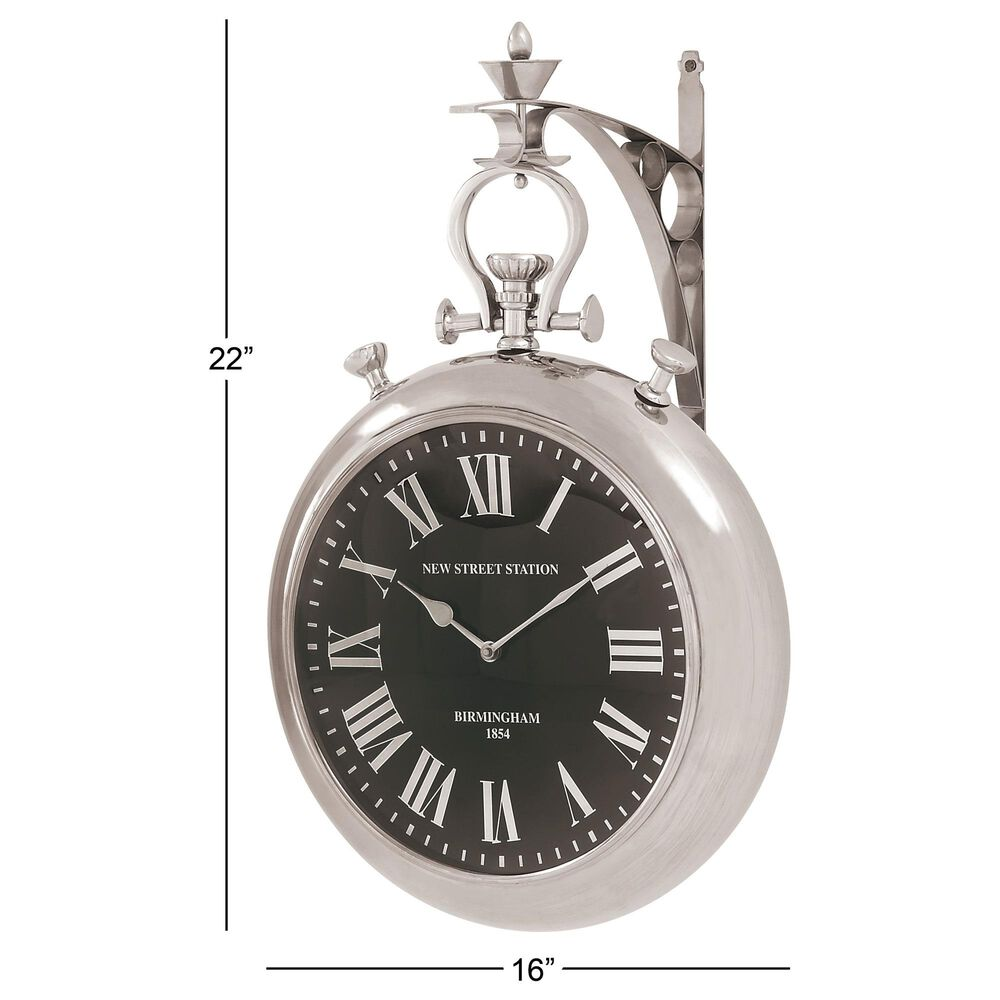 """Maple and Jade 22"""" x 16"""" Wall Clock in Silver, , large"""