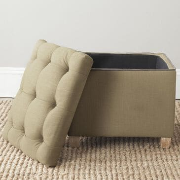 Safavieh Joanie Tufted Ottoman in True Taupe and Pickled Oak, , large