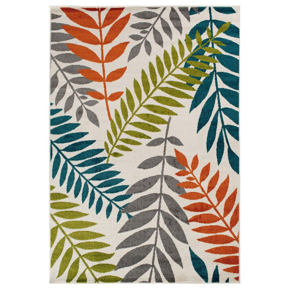"Central Oriental Terrace Tropic Blythewood 2304NI.084 6'7"" x 9'6"" Multicolor Area Rug, , large"