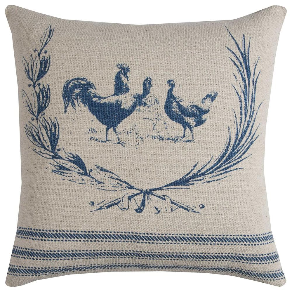 """Rizzy Home 20"""" x 20"""" Pillow Cover in Blue with Chickens, , large"""