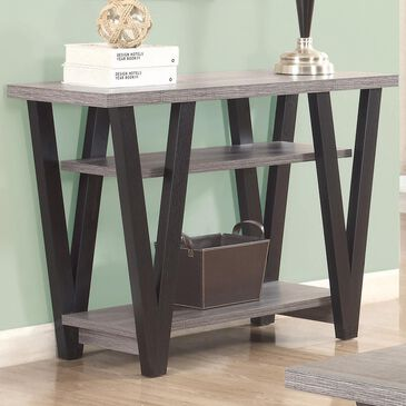 Pacific Landing Higgins V-Shaped Sofa Table in Black and Antique Grey, , large