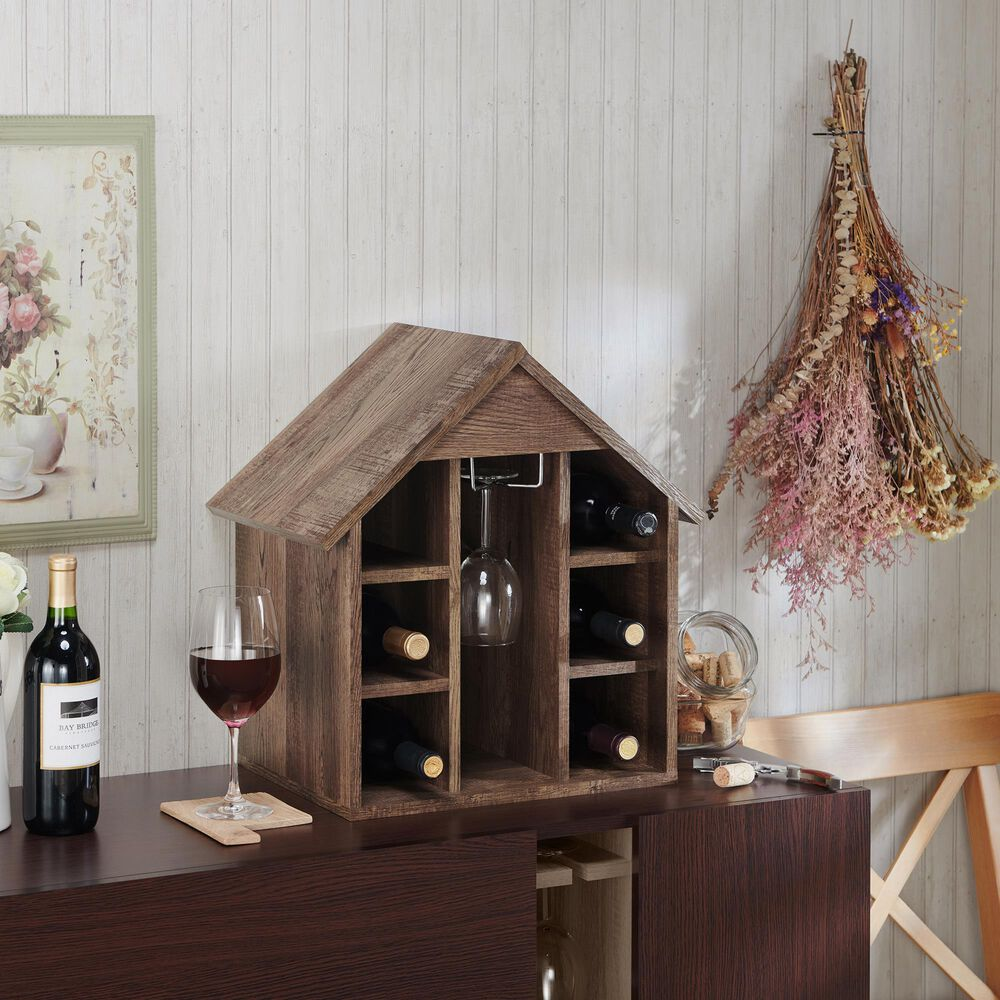Furniture of America Heath Wine Rack in Reclaimed Oak, , large