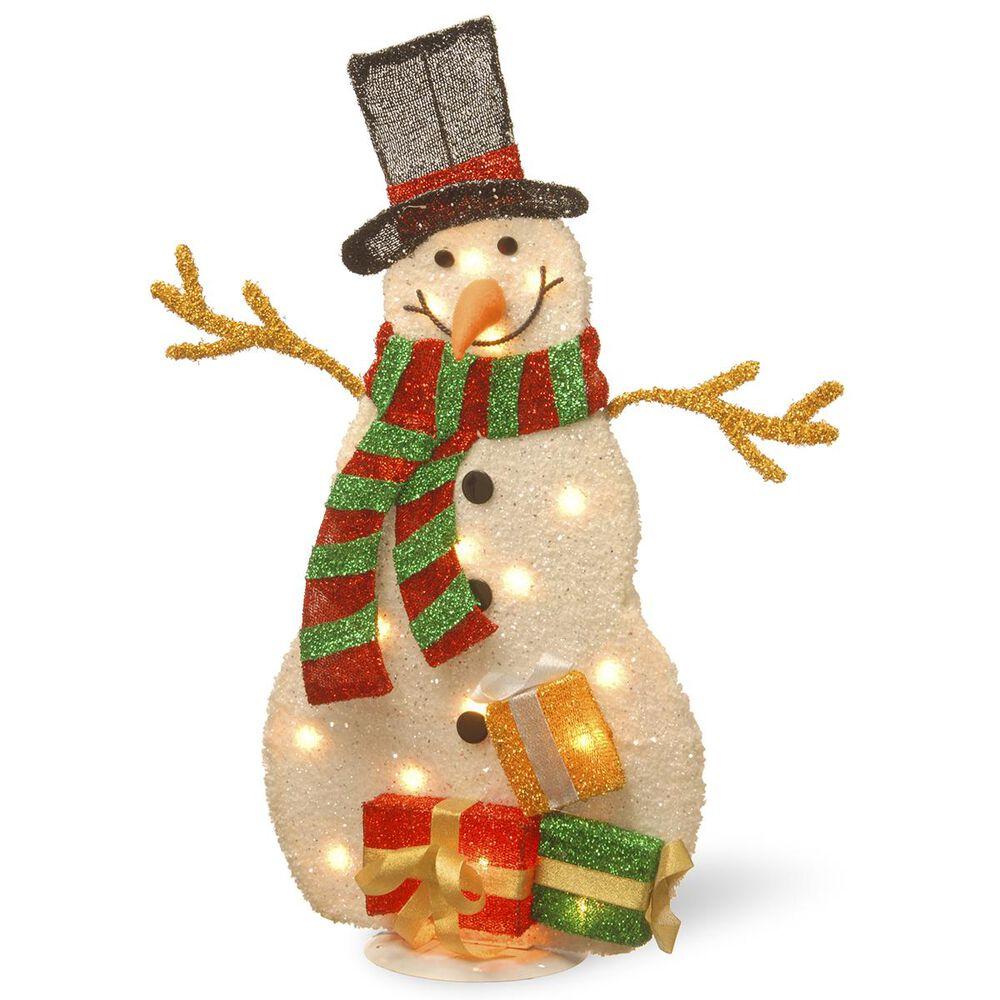 "National Tree Pre-Lit 31"" Tinsel Snowman, , large"
