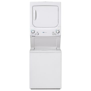 GE Appliances 3.9 Cu. Ft. Front Load Washer and 5.9 Cu. Ft. Gas Dryer Stack Laundry in White, , large