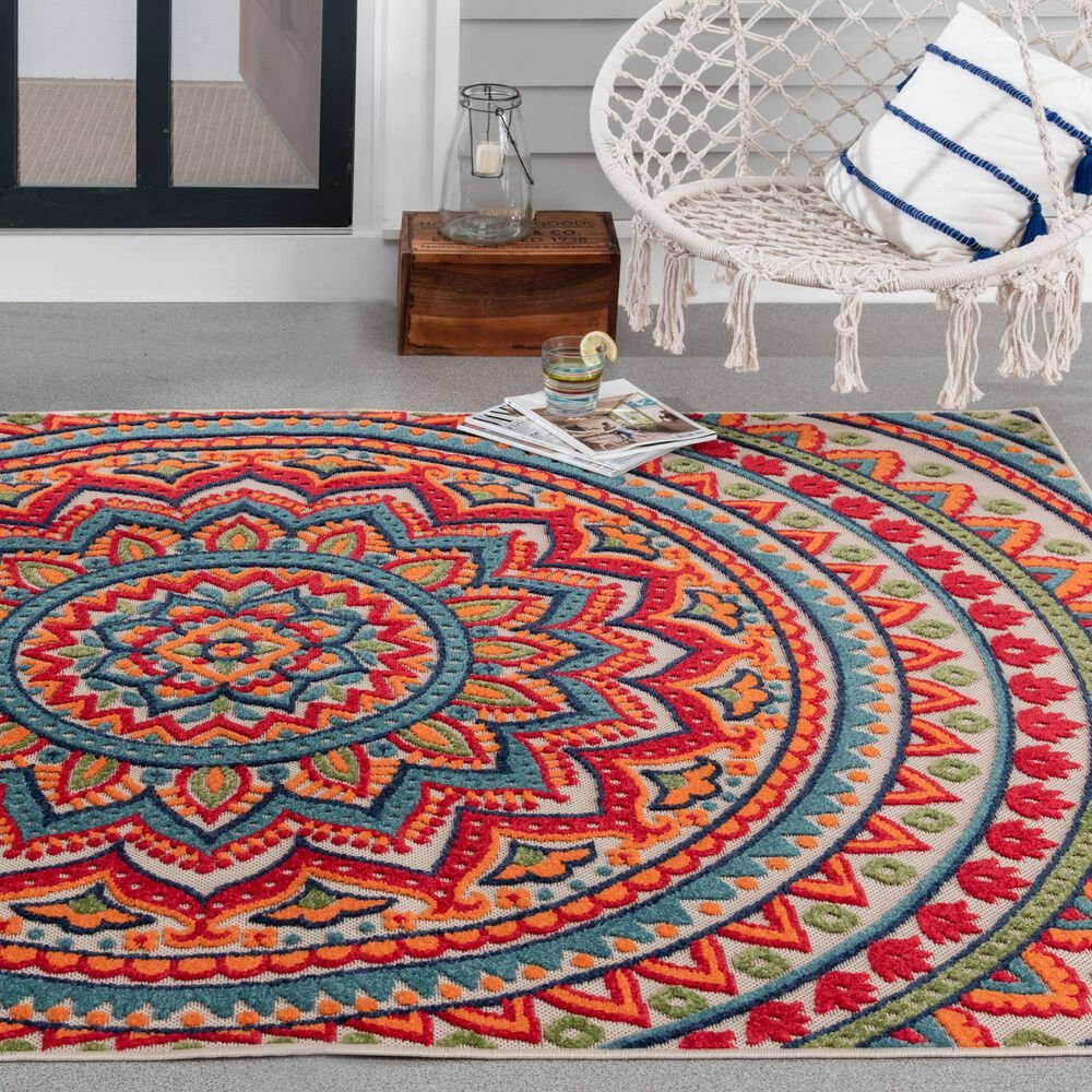 "Central Oriental Fontana Panyin 1657.04 6'7"" x 9'2"" Cream and Red Area Rug, , large"