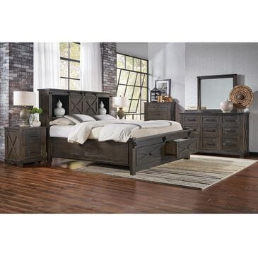 A-America Sun Valley 4 Piece Queen Bedroom Set in Charcoal, , large