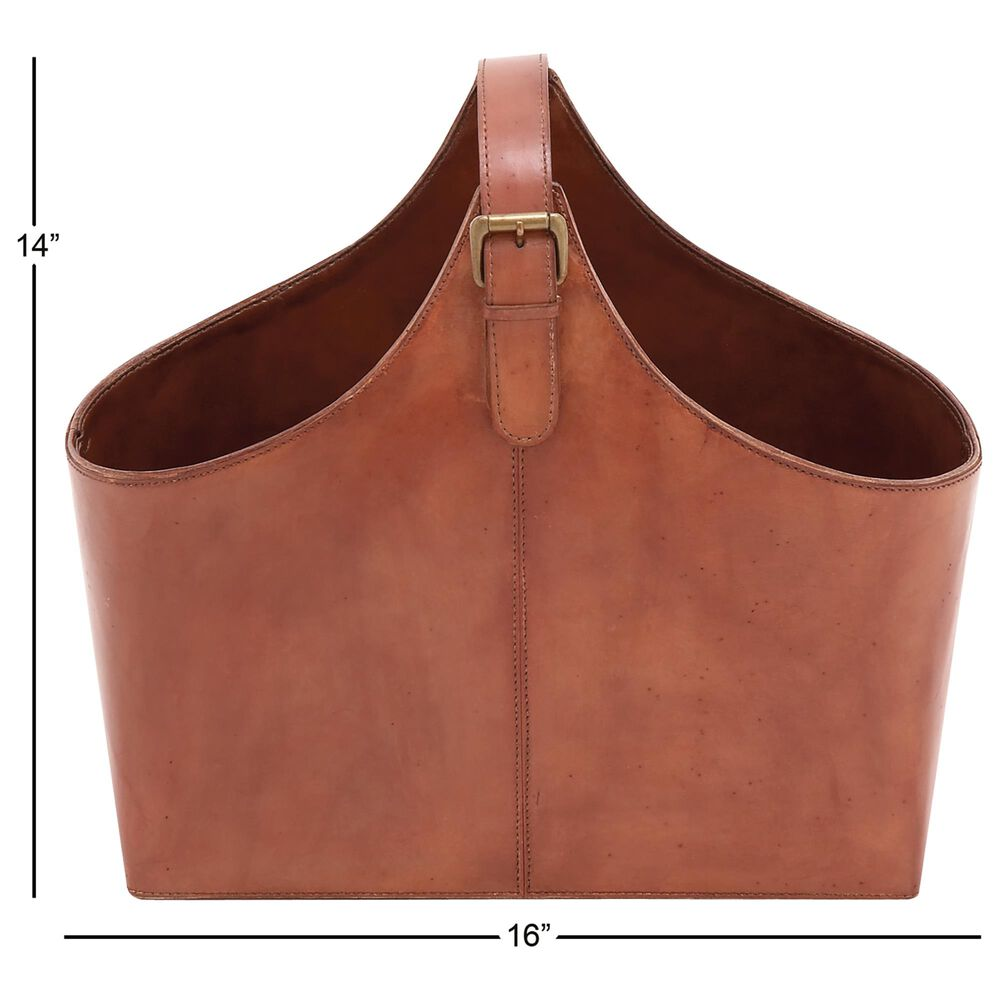 Maple and Jade Leather Magazine Holder in Brown, , large