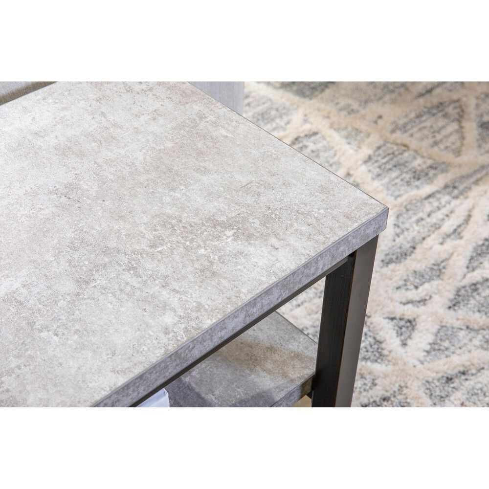 Signature Design by Ashley Shybourne Sofa Table in Gray Faux Concrete, , large