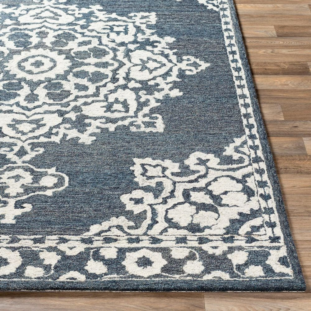 """Surya Granada GND-2309 2'6"""" x 10' Charcoal and Cream Runner Rug, , large"""
