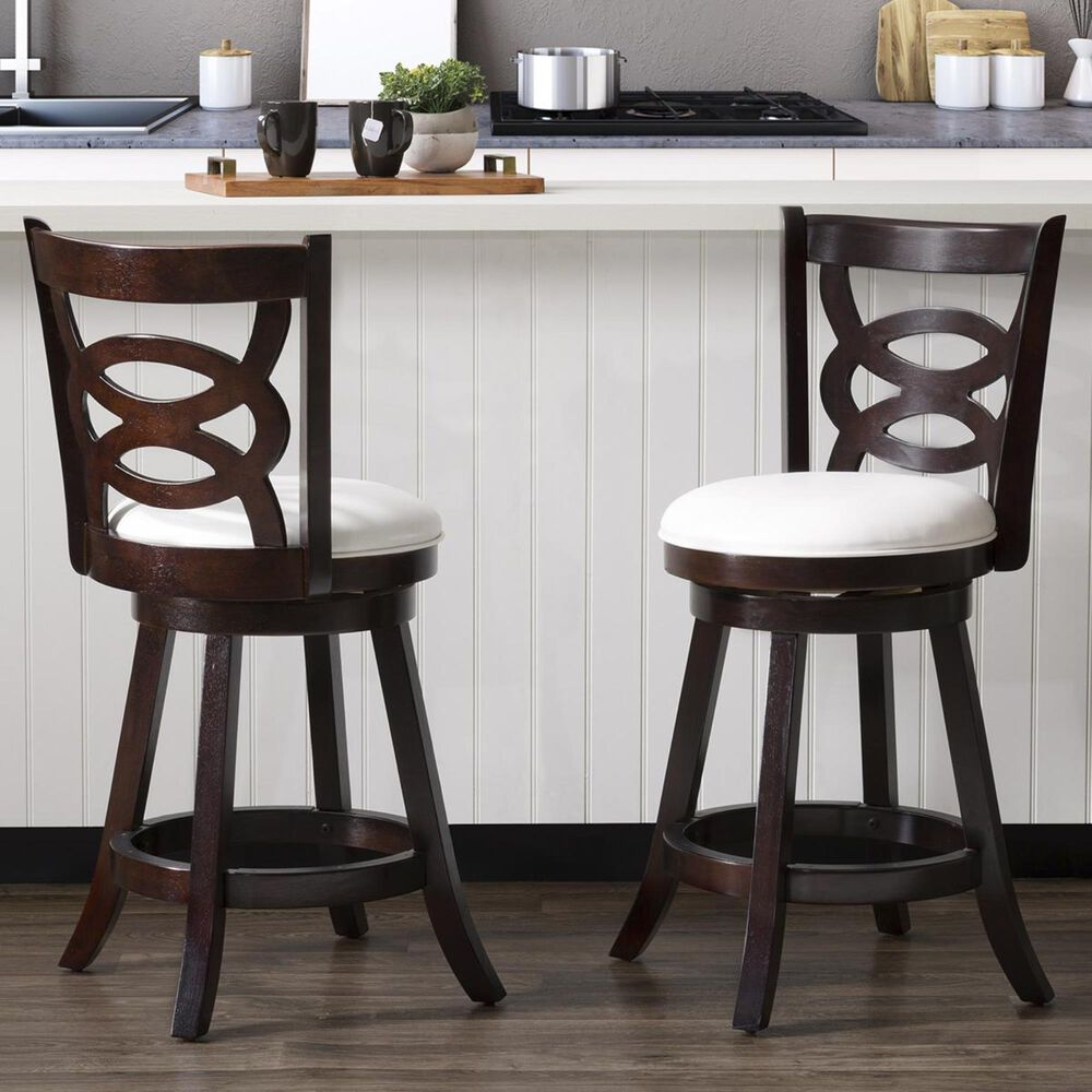 CorLiving Woodgrove Circle Back Counter Stool in Cappuccino with White Cushion (Set of 2), , large
