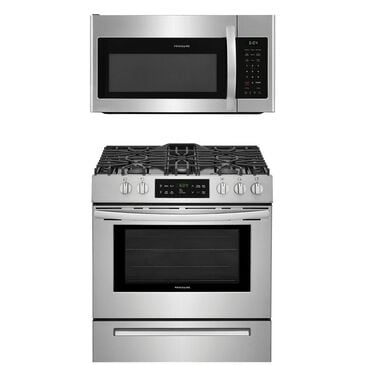 Frigidaire 2-Piece Kitchen Package with Freestanding Self Cleaning Gas Range and 1.8 Cu. Ft. Over-The Range Microwave in Stainless Steel , , large