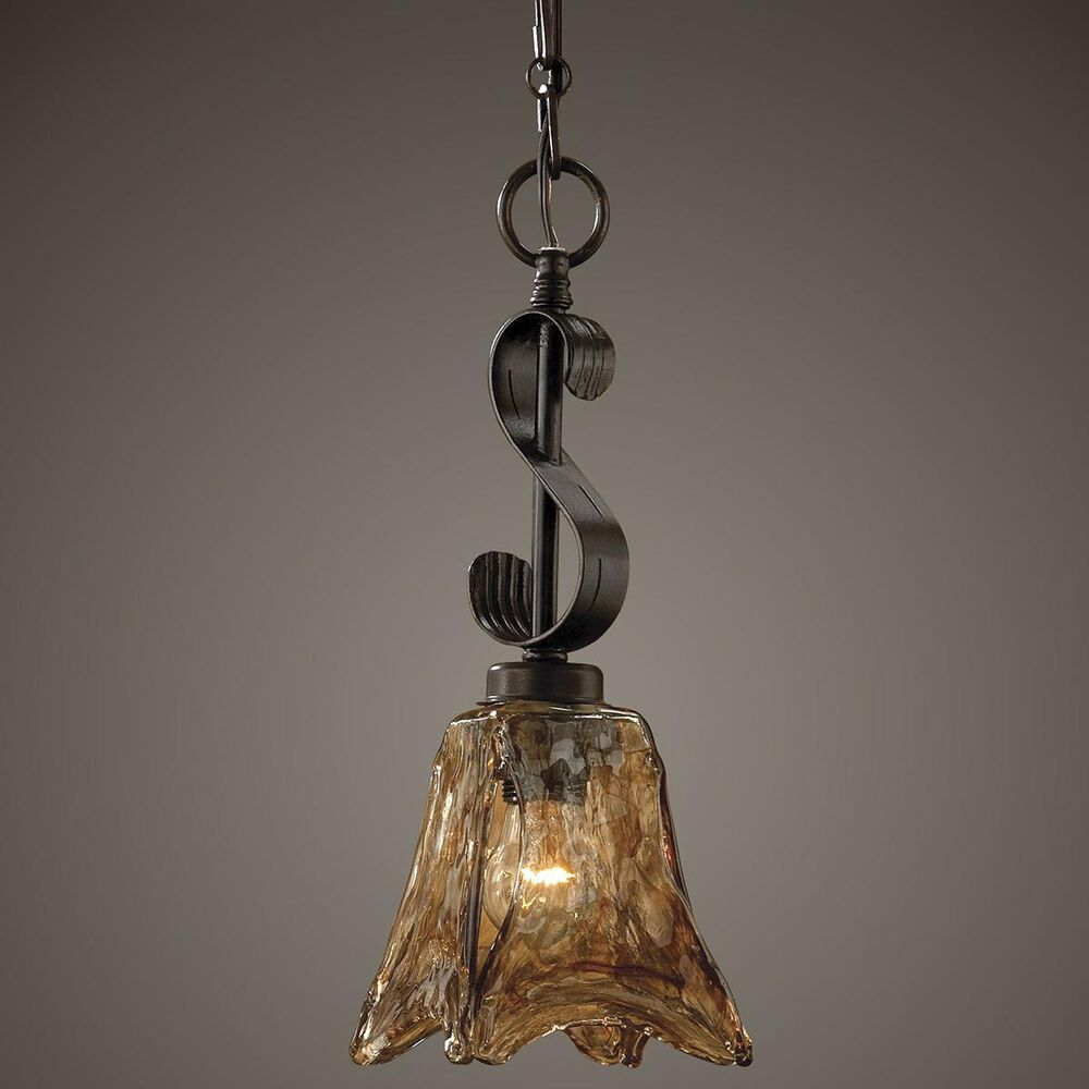 Uttermost Vetraio Mini Pendant in Bronze/Toffee/Amber, , large