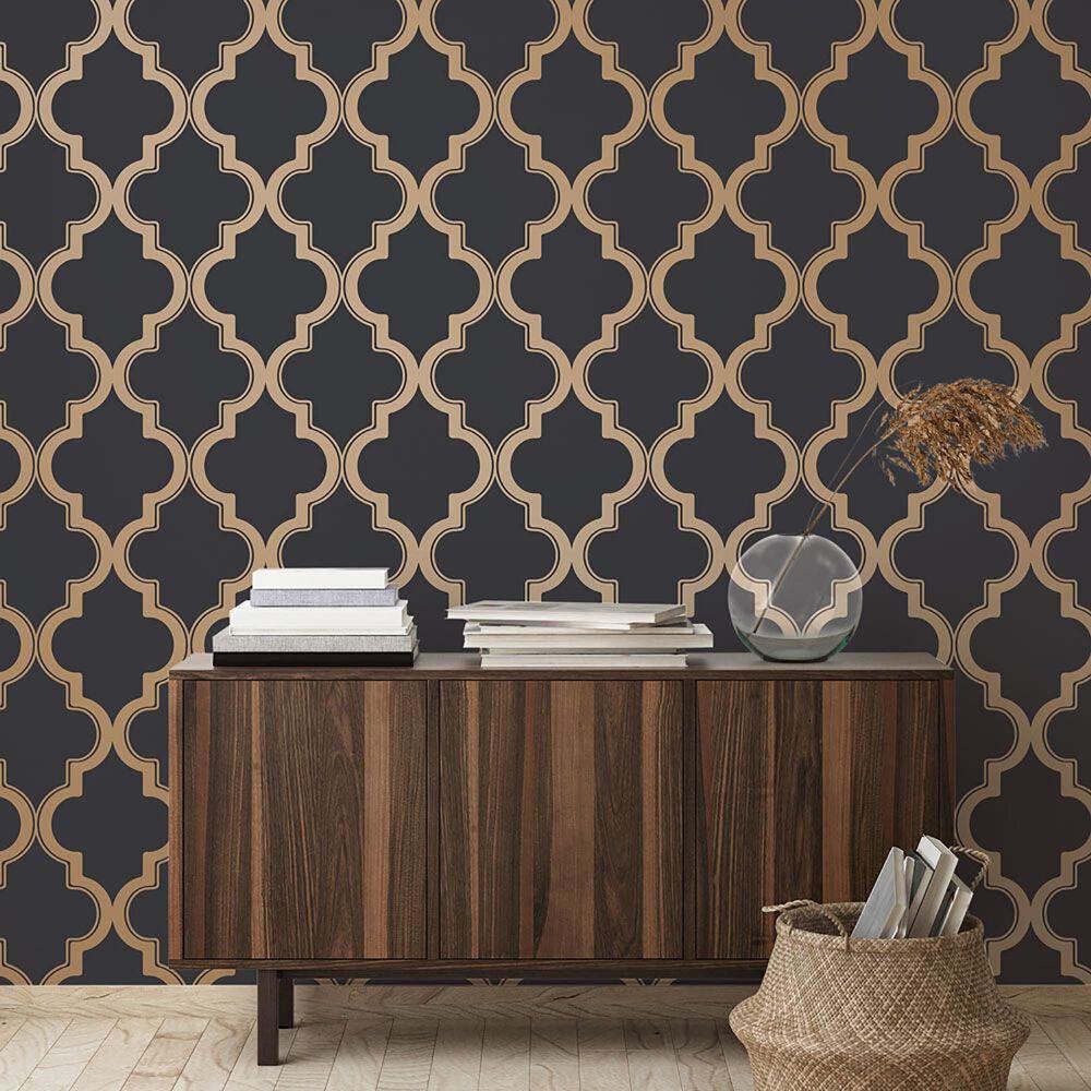 Tempaper Marrakesh Midnight & Metallic Gold Peel and Stick Wallpaper, , large