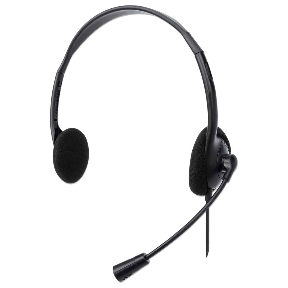 Manhattan Stereo USB-A On-Ear Headset in Black, , large