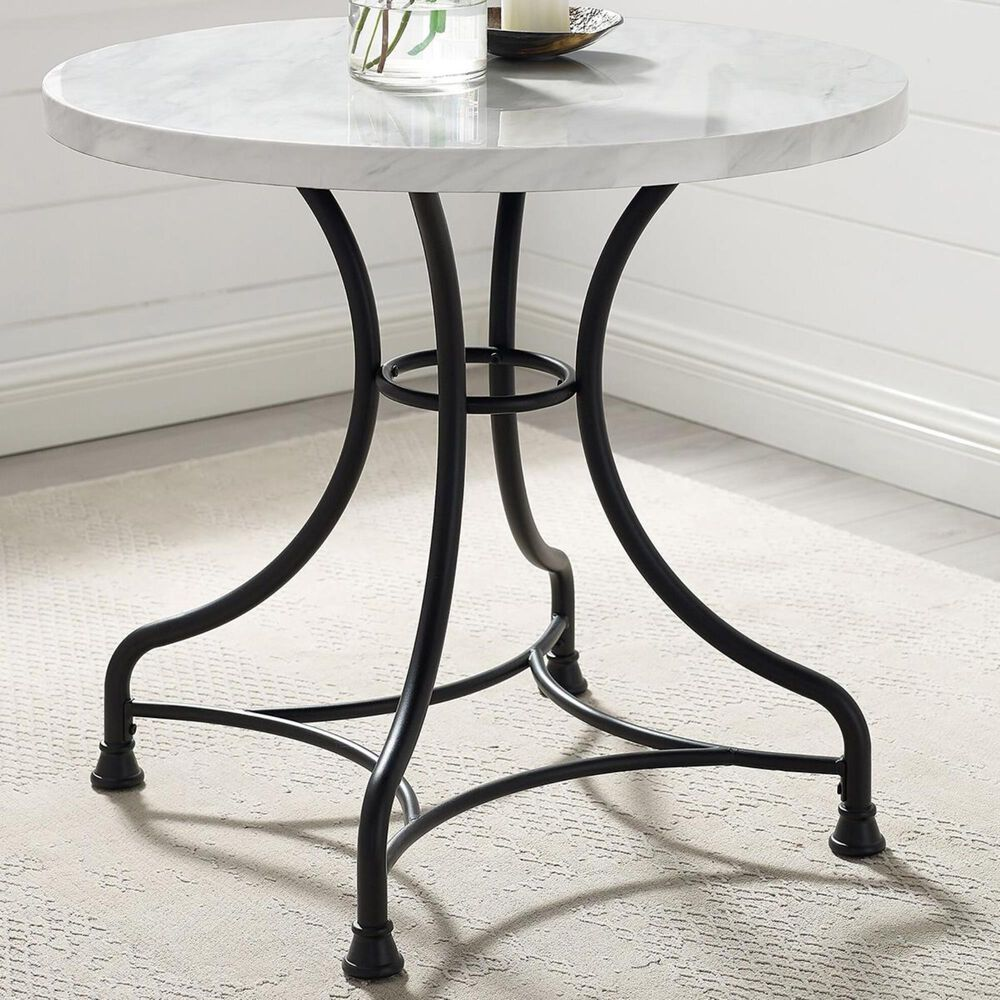 """Crosley Furniture Madeleine 32"""" Round Dining Table in Black and White Faux Marble - Table Only, , large"""