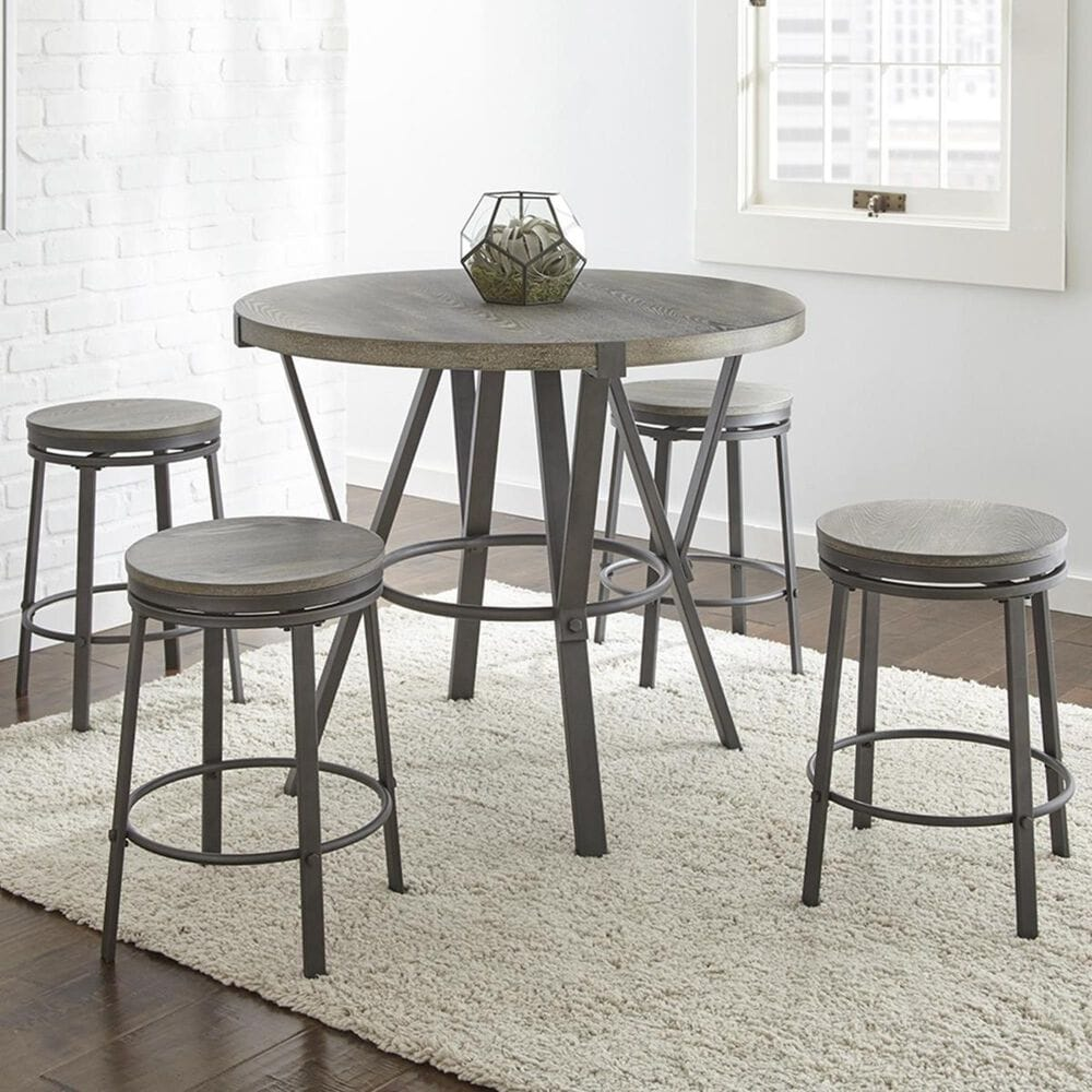 Crystal City Portland 5-Piece Counter Dining Set in Gray, , large